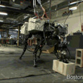 Robot throwing concrete bricks