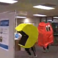 When you can't resist to play pacman.. even in a library LOL