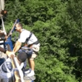 Mean bungee jump prank.  I would whoop a$$ if someone did this to me.
